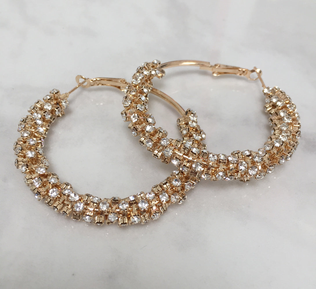 gold jewel rhinestones hoop earrings