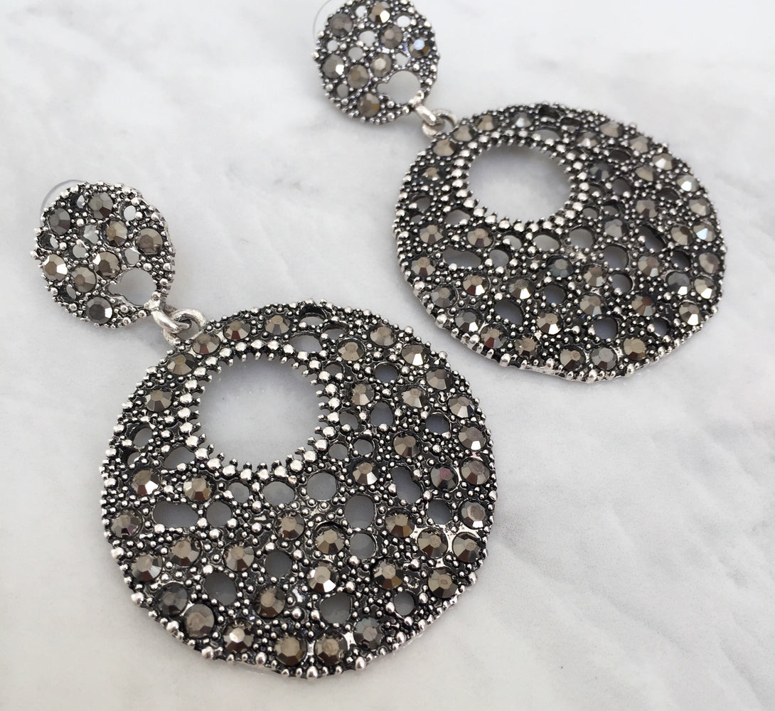 AMELLE Grey Disc Statement Earrings