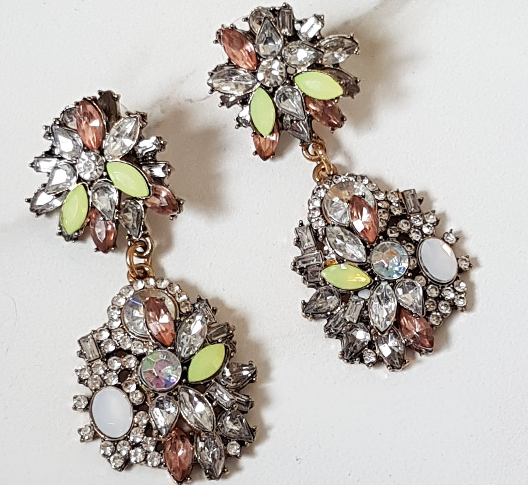 Lime Green Rhinestone Earrings