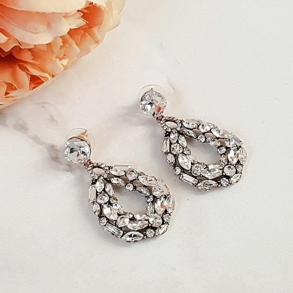 Round Drop Rhinestone Encrusted Earrings - Not perfect but still beautiful