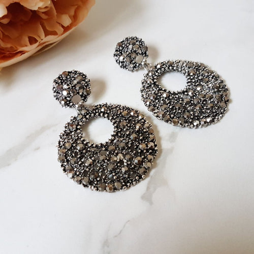 big graphite grey statement disc earrings