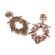 LUNA Large Rhinestone Statement Earrings (Pink & Clear)