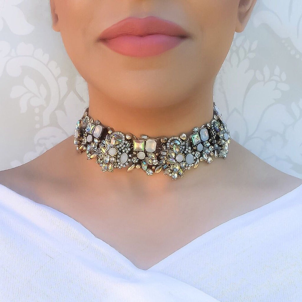 white and gold jewel statement choker