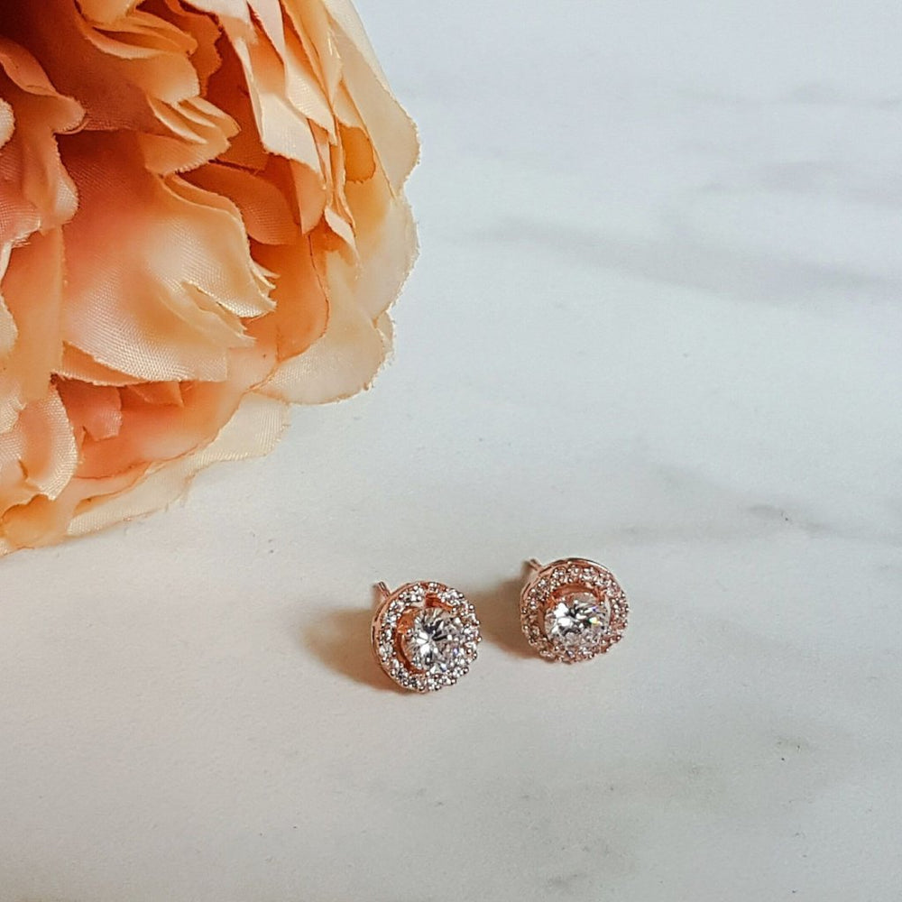 rose gold stud earrings for women