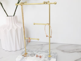 Marble & Gold Large Jewellery Tree Stand