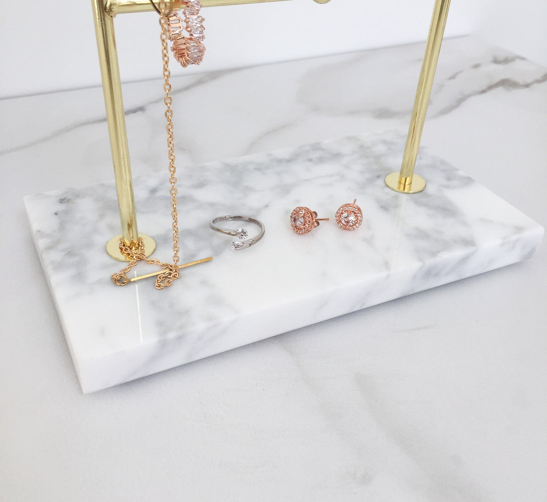 Marble and gold jewellery storage