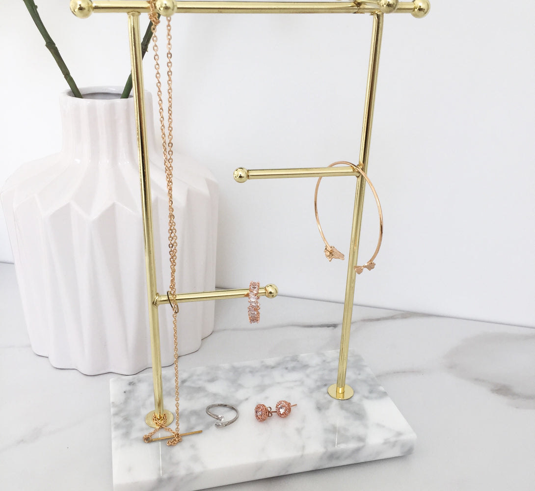 marble gold jewellery tree storage, marble decor for home