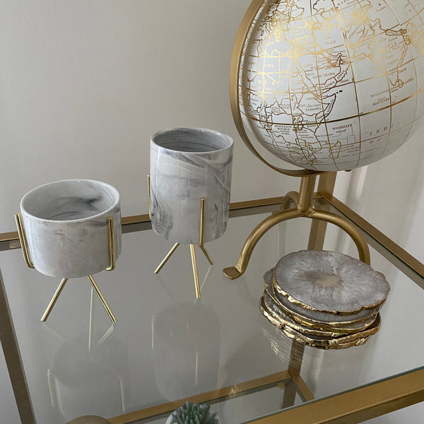Marble Planter with Gold Stand (3 sizes)