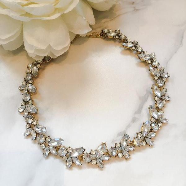 gold delicate rhinestone necklace