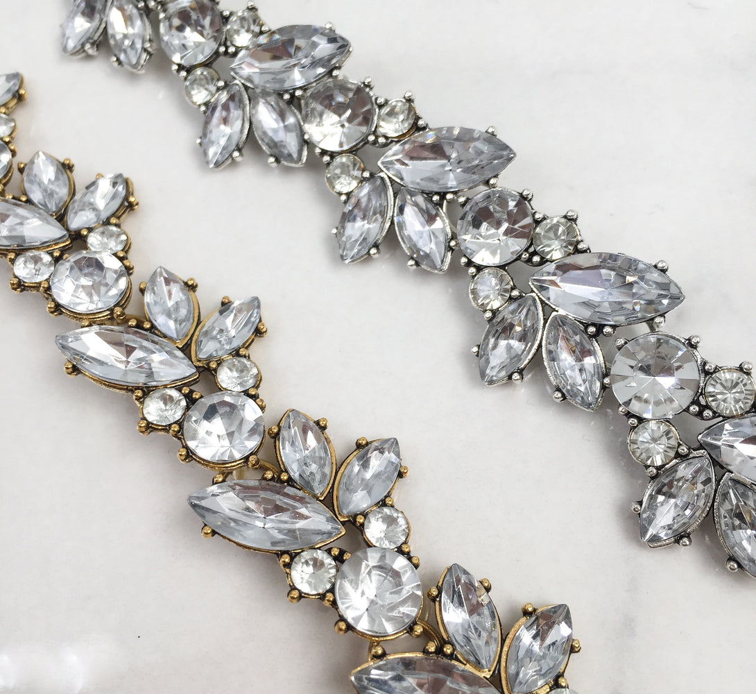 ladies gold and silver rhinestone necklace