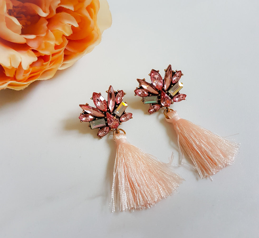 PAYNE Pink Rhinestone Tassel Earrings