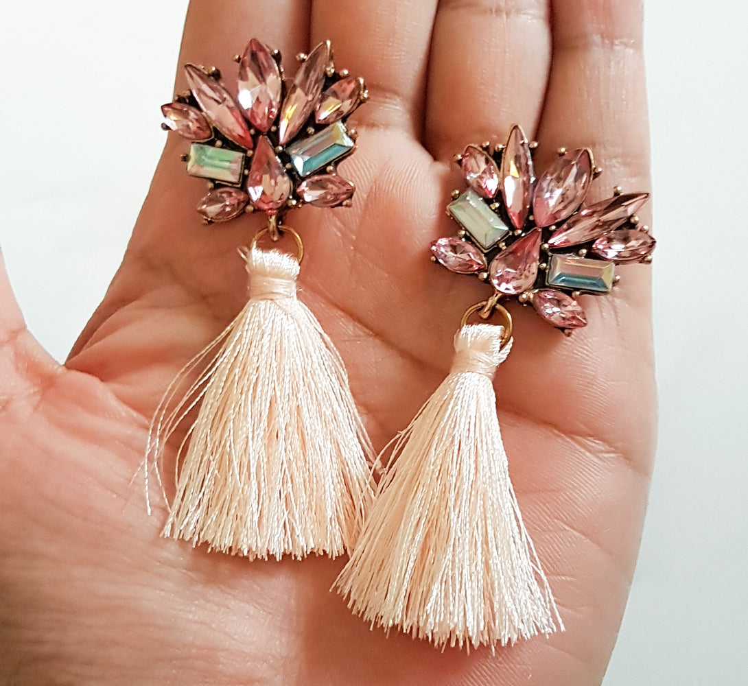 pink tassel fringe long earrings
