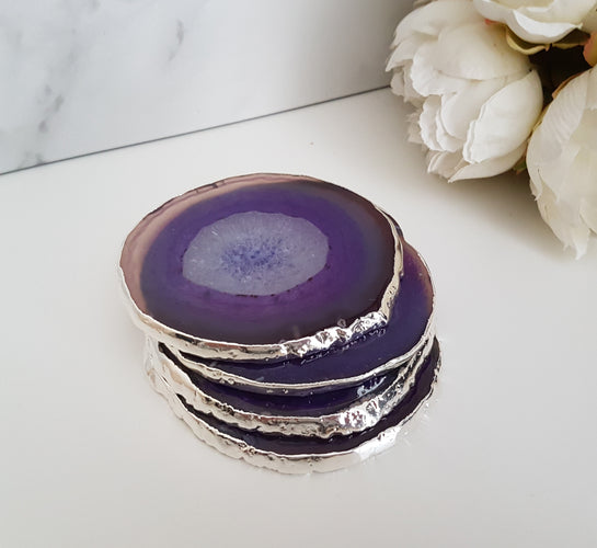 Purple Agate Crystal Coasters with Silver Glided Edge