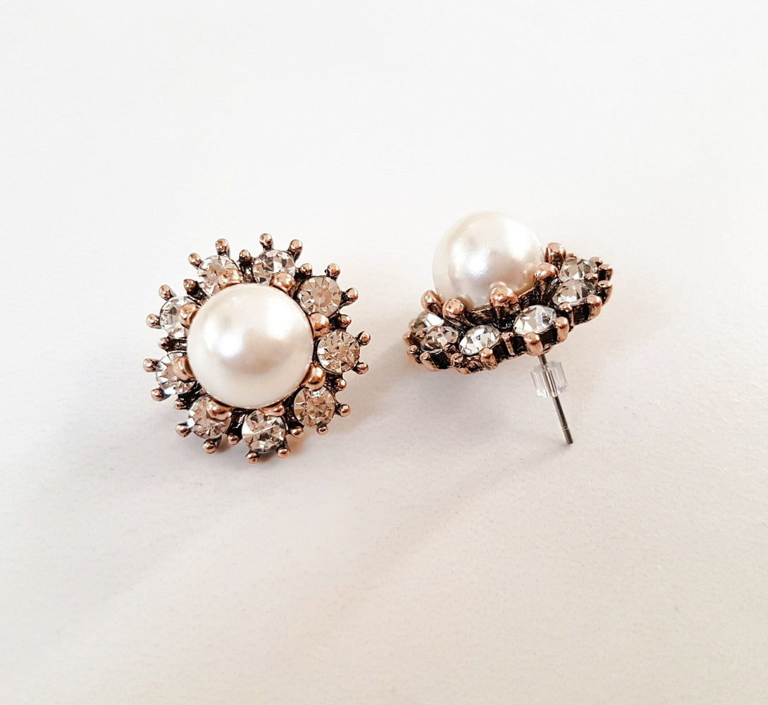 MAY Gold Pearl Stud Earrings