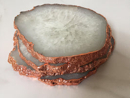 Natural White Agate Crystal Coasters with Copper / Rose Glided Edge