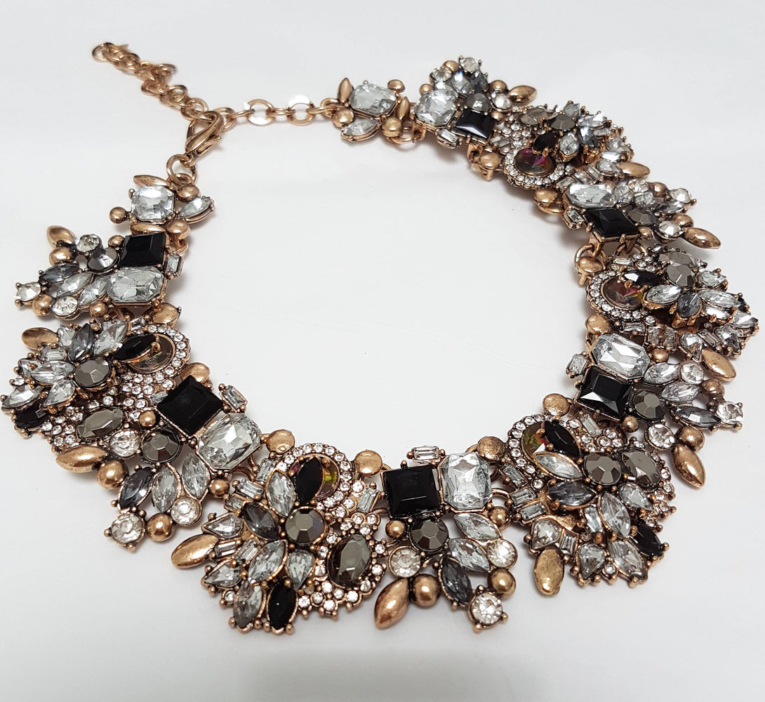 black gold rhinestone choker necklace, statement necklaces and accessories