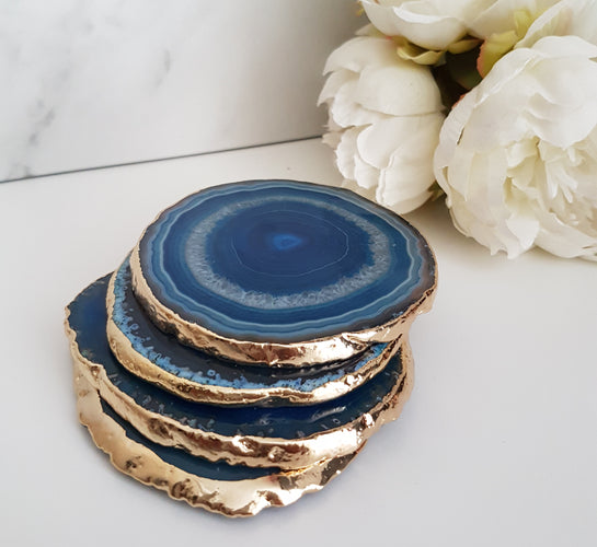 Teal Blue Agate Crystal Coasters with Gold Glided Edge