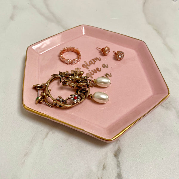 Too Glam Pink & Gold Jewellery Storage Dish