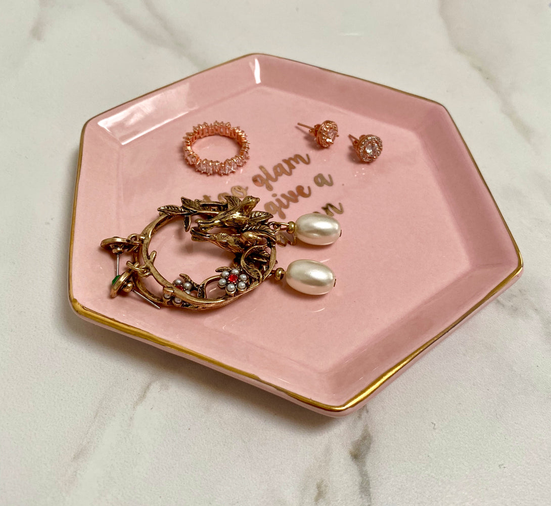 pink and gold jewellery dish for her