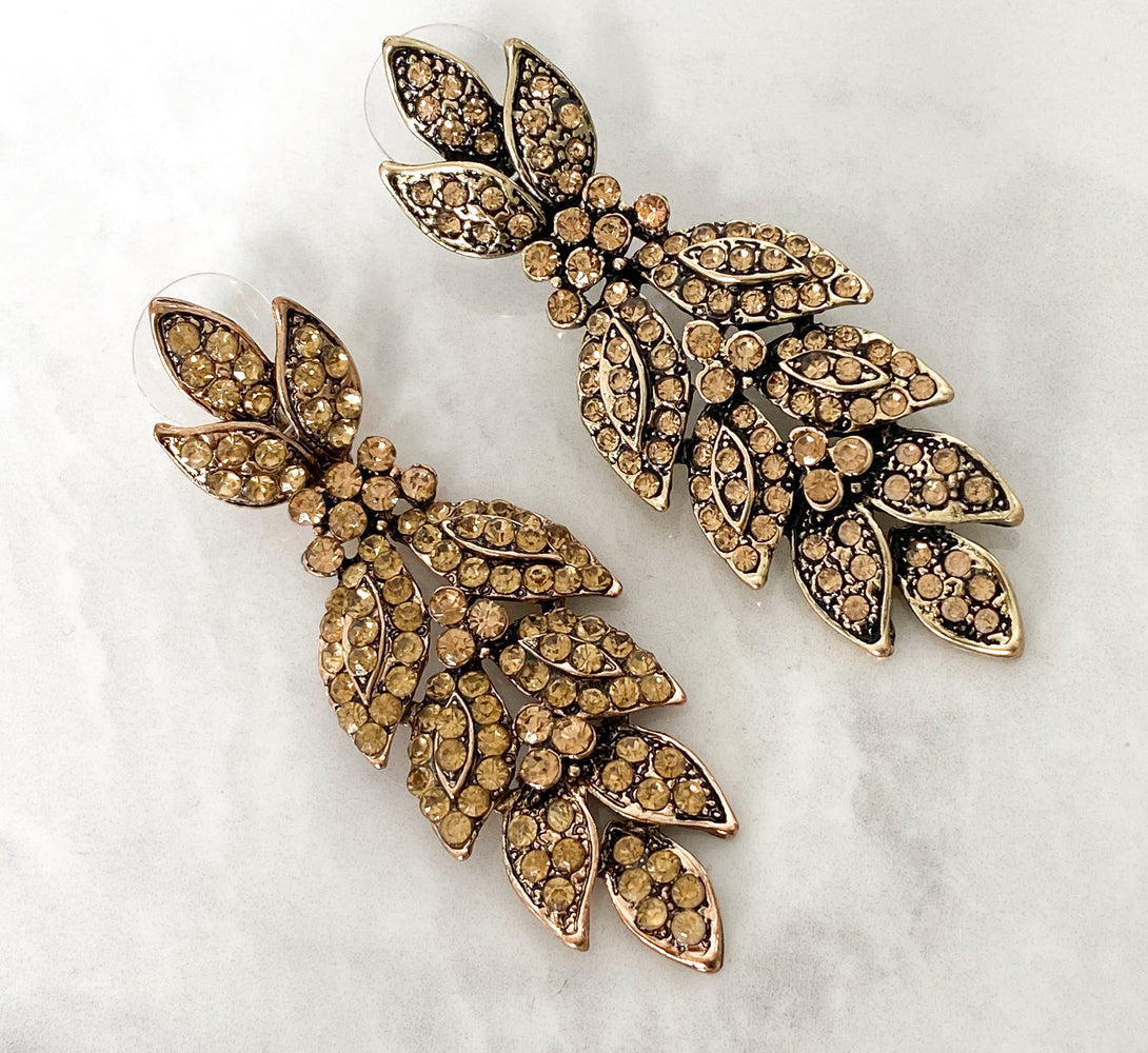 Bronze Rhinestone Earrings - Not Perfect But Still Beautiful