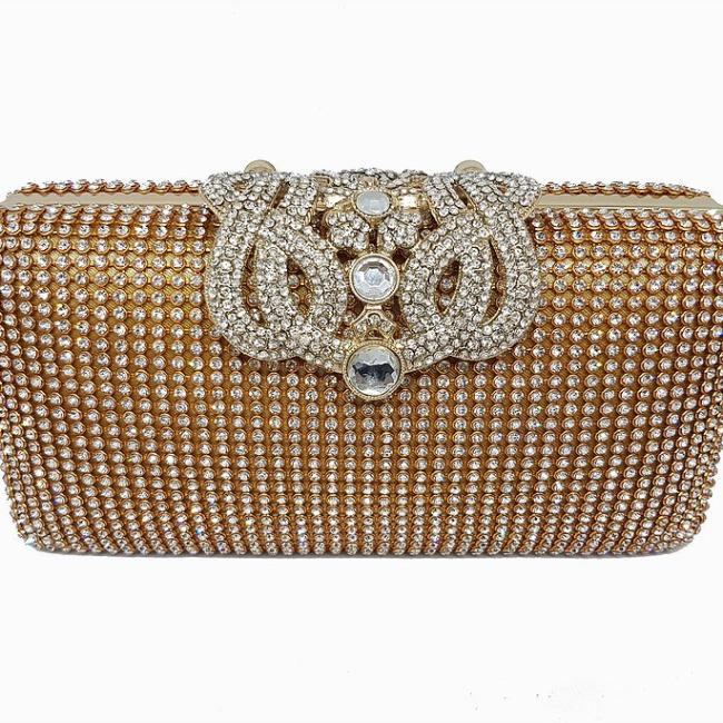 women's gold jewel evening clutchbag