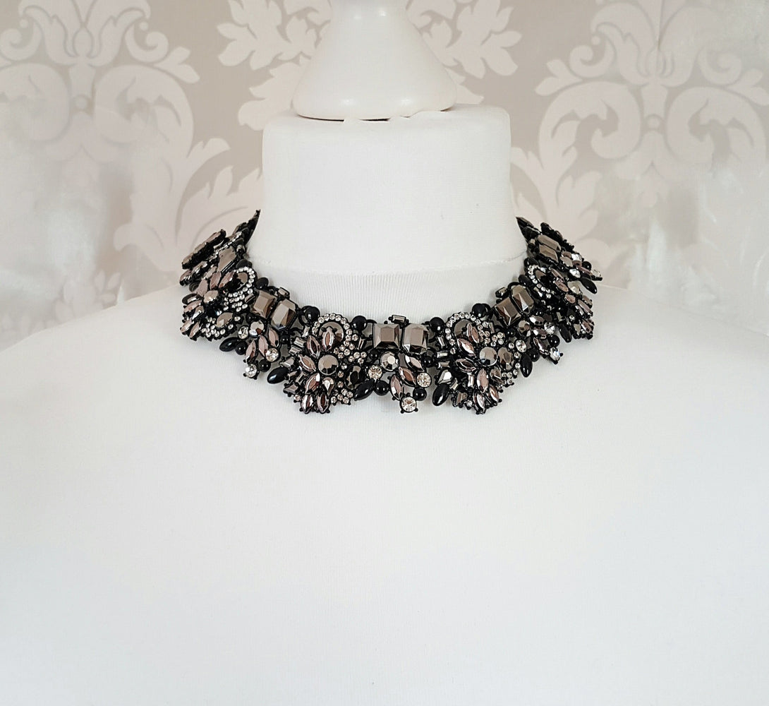 KENDALL Black & Grey Statement Necklace
