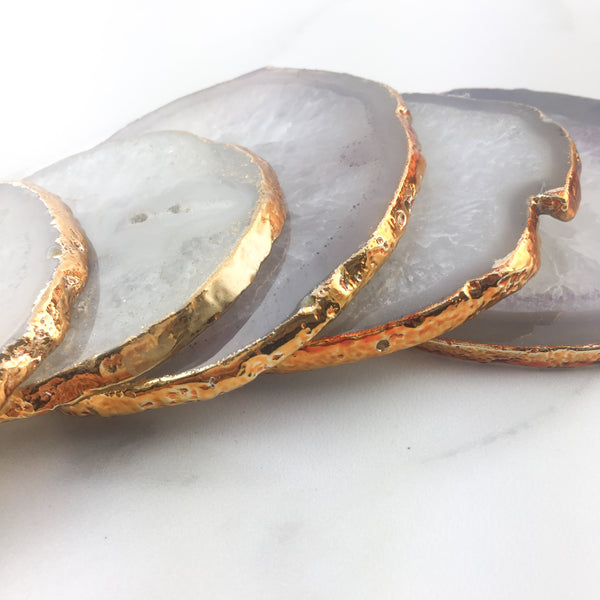 White Agate Crystal Coaster with Gold Glided Edge