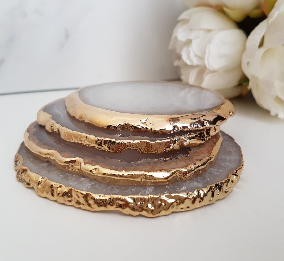 crystal quartz and agate coasters, luxury kitchen and bar ware