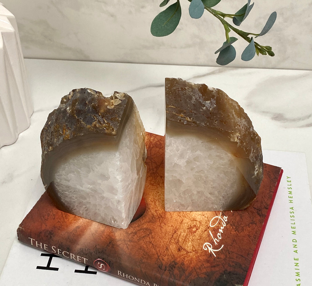 Geode bookends for interior design and decor for homes