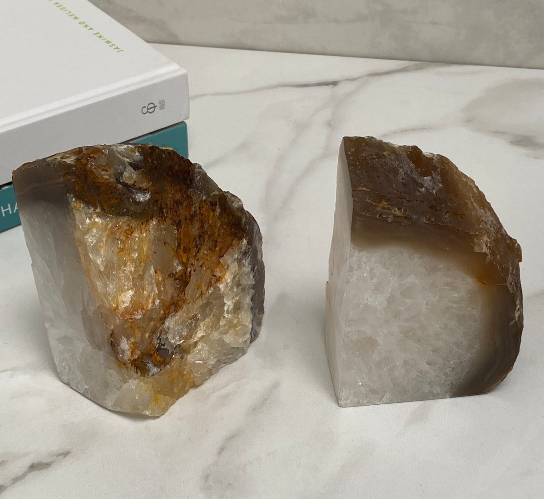 White and brown geode home accessories