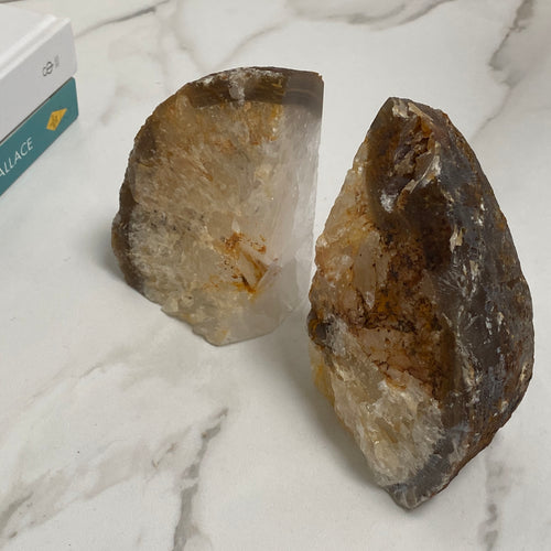 Natural agate crystal home accessories. Bookends
