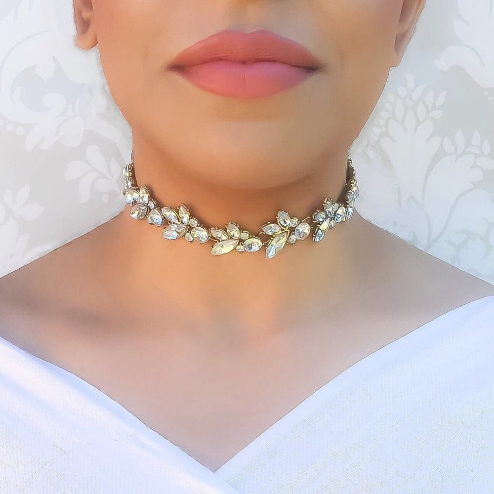 gold rhinestone choker necklace in gold and silver