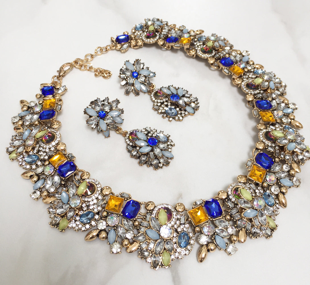 royal blue necklace and earring jewellery set