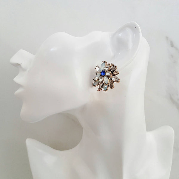 ZOYA Blue Rhinestone Stud Earrings