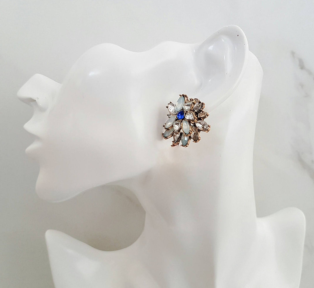 blue rhinestone stud earrings, statement jewellery and earrings for weddings and bridesmaids