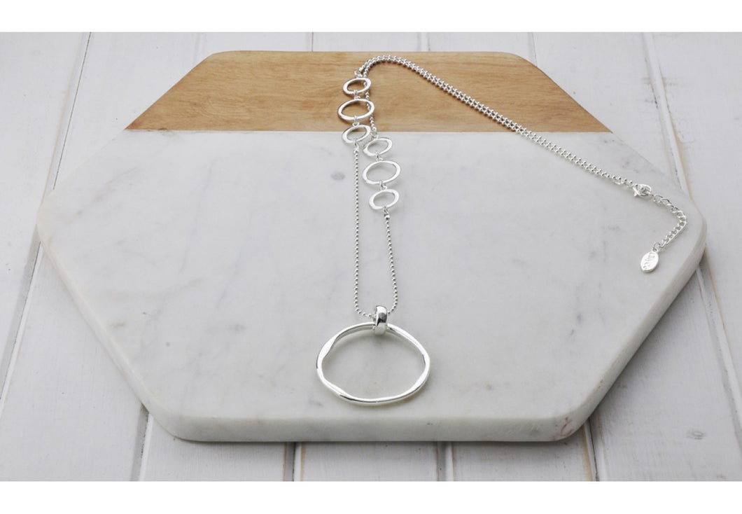 Large Ring With Small Rings Necklace
