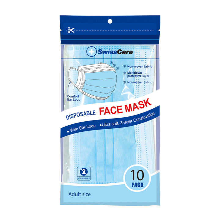 3 Ply Face Masks With Earloop 10/PK - Face Masks - Hand sanitiser Australia, forehead thermometer, baby temperature, hand sanitiser, hand sanitiser online australia, hand sanitisers and wipes,