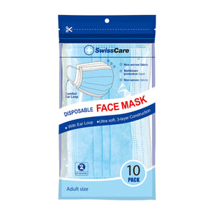 3 Ply Face Masks With Earloop 10/PK - Face Masks - Hand sanitiser Australia, forehead thermometer, baby temperature, hand sanitiser, hand sanitiser online australia, hand sanitisers and wipes, face mask, face masks