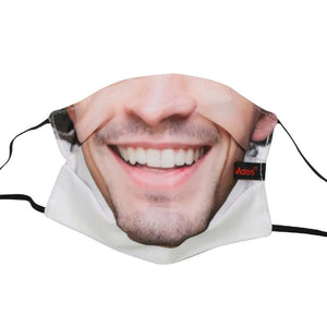 Reusable Fabric Face Mask | 2 Layers + Filter - Face Masks - FeverMates - Adult Regular 17x13cm / Smiley Man - FeverMates