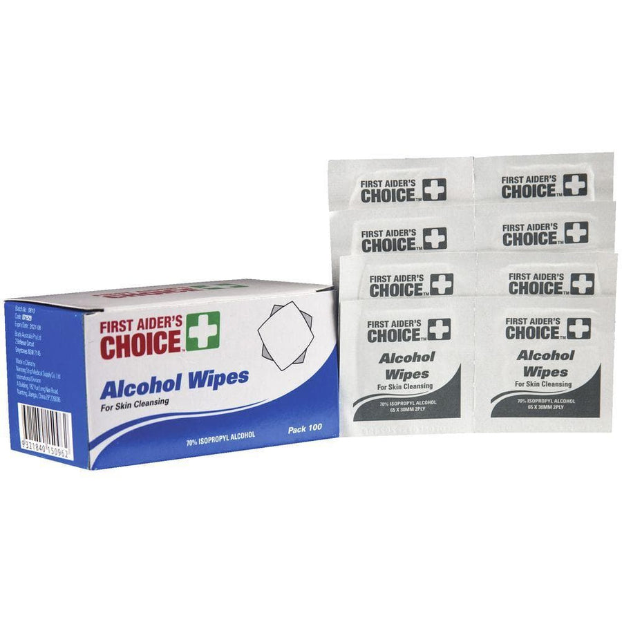100 Alcohol Wipes - First Aiders Choice - Hand sanitiser - First Aiders Choice - FeverMates
