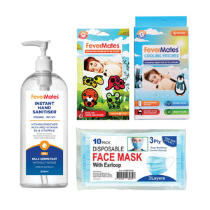 Care & Hygiene Bundle - hand sanitiser, fever indicators, cooling patches, face masks