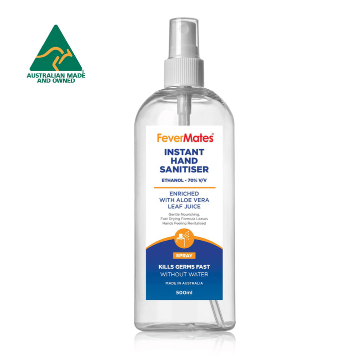 Hand & Surface Sanitiser Spray + Aloe Vera 500ml (58 Bulk Pack) - FeverMates