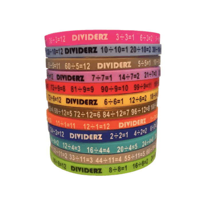 Dividerz Mathematics Division Wristbands - Awareness Wristbands - Handband - FeverMates