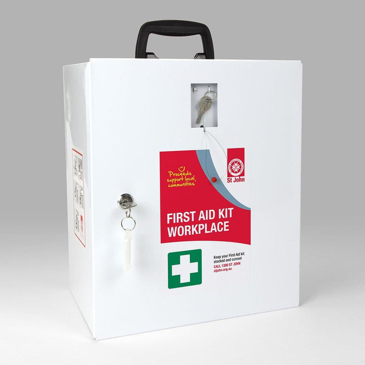 St John First Aid Kit (National Workplace Kit Wallmount) - First Aid Kit,  First Aid Kit, St John Ambulance, first aid kit australia, childrens first aid kit, small first aid kit, hand sanitiser, alcohol wipes,