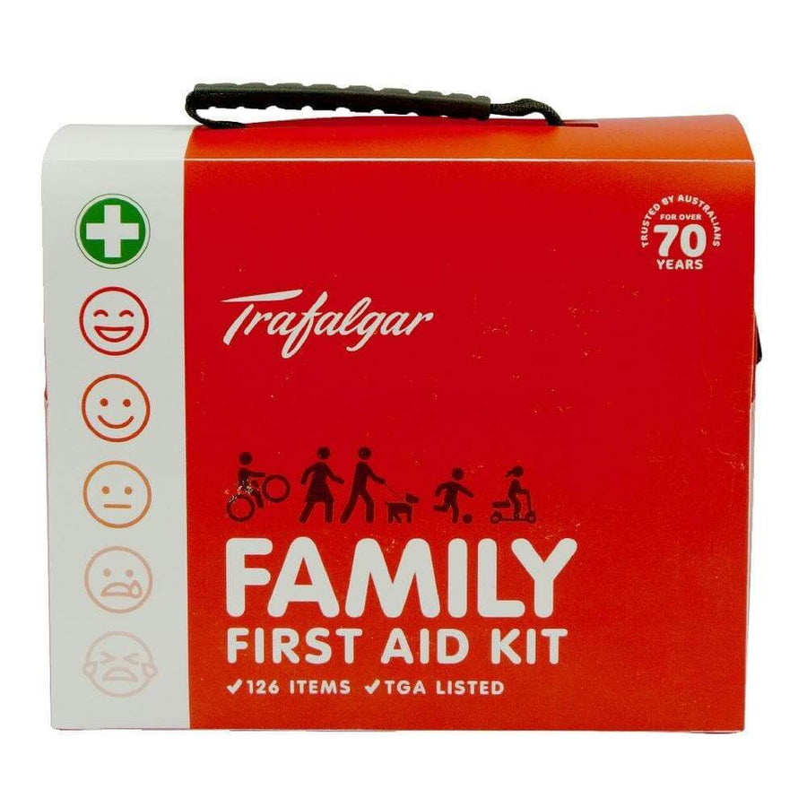 Trafalgar Family First Aid Kit (126 Pieces) - First Aid Kit, family first aid kit, first aid kit australia, childrens first aid kit, small first aid kit, hand sanitiser, alcohol wipes,
