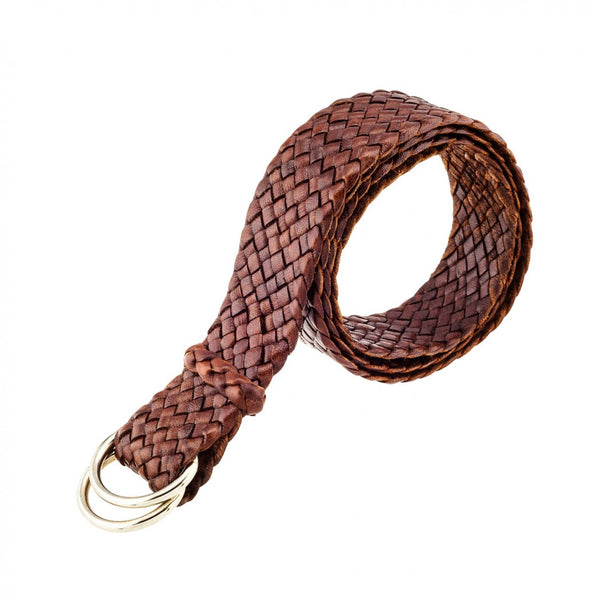 Classic Australian Queenslander Plaited Kangaroo Leather Belt 1 1/4""