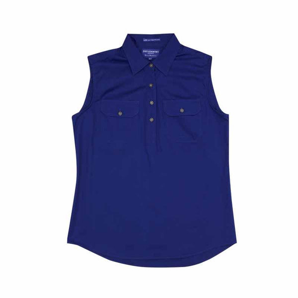 Just Country Womens Sleeveless Half Button Workshirts