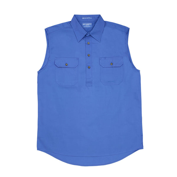 Just Country Mens Sleeveless Half Button Workshirts