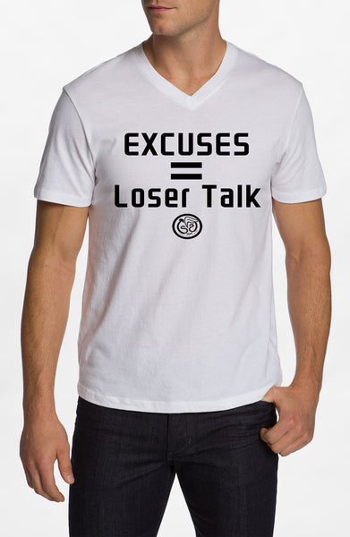 Excuses - White w/Black Print