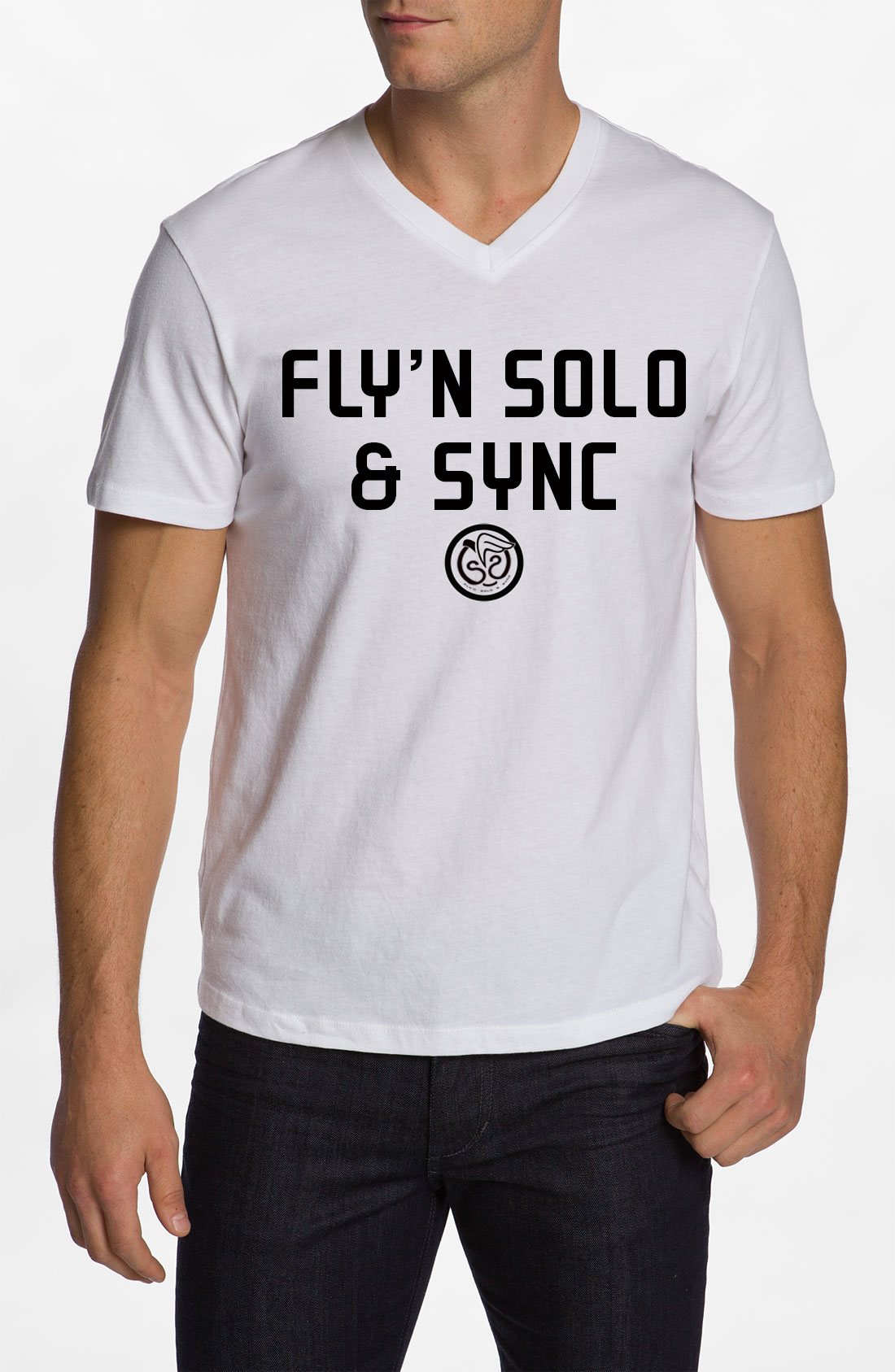Fly'n Solo & Sync - White w/Black Print